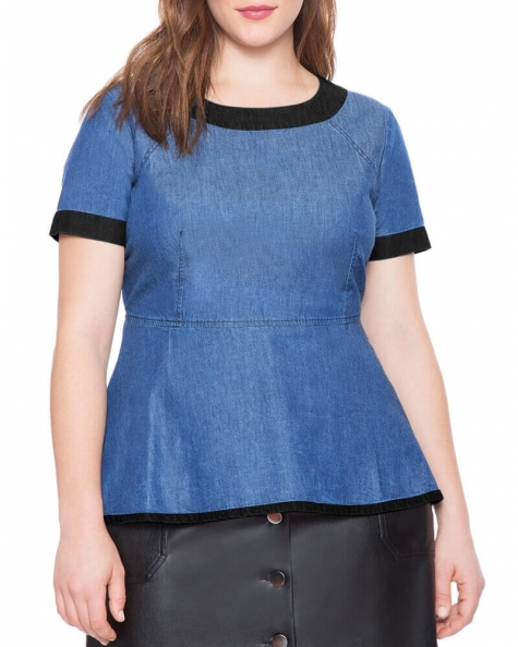 Byron peplum denim top