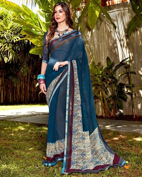 Alluring Blue Georgette Fancy Digital Printed Saree