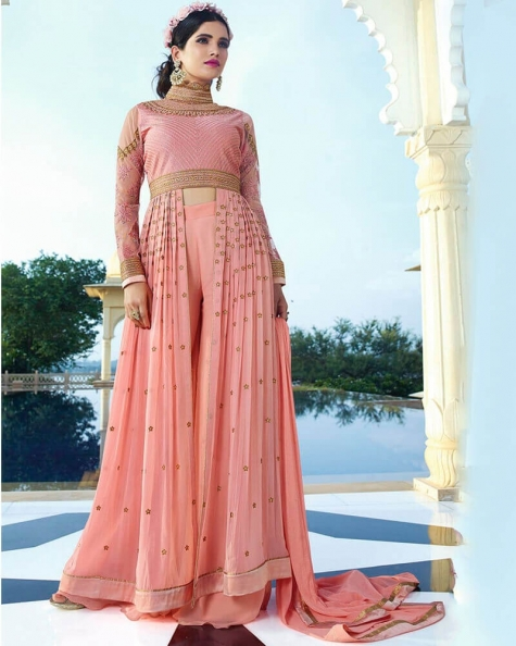 Pretty Peach Royal Georgette Partywear Suit