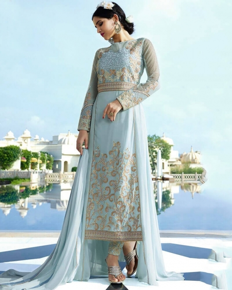 Graceful Grey Royal Georgette Partywear Suit
