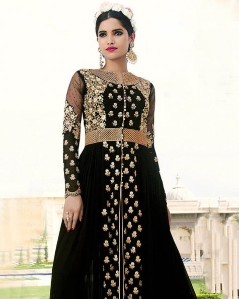 Beautiful Black Royal Georgette Partywear Suit