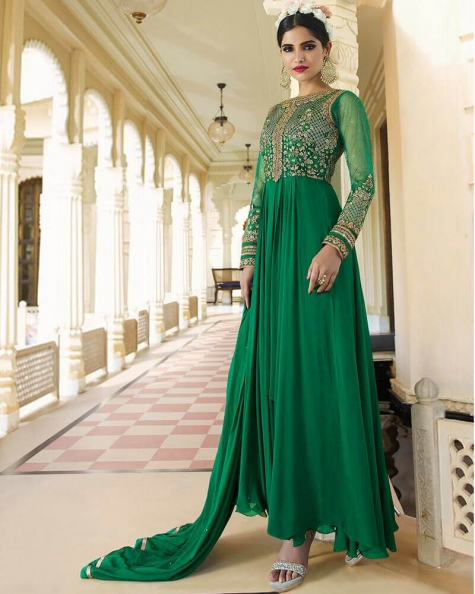 Gorgeous Green Royal Georgette Partywear Suit