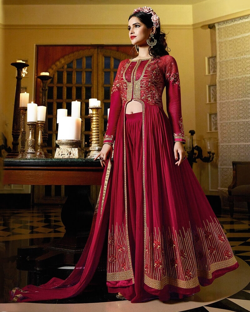 Amazing Red Royal Georgette Partywear Suit