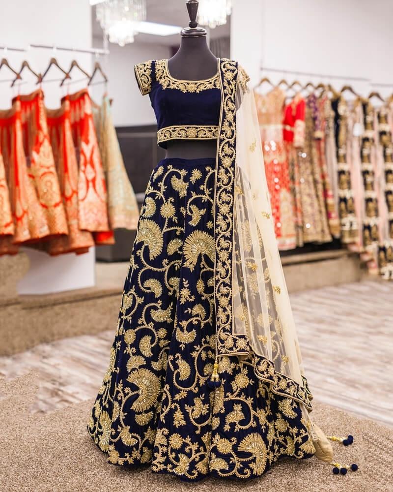 Designer Embroidery Navy Blue velvet Lahengha