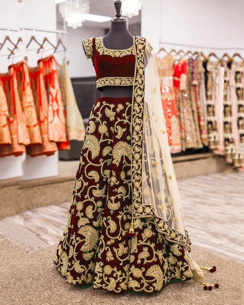 Designer Embroidery Maroon velvet Lahengha