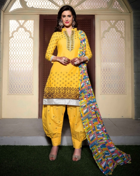 Alluring Yellow Cotton Salwar Suit