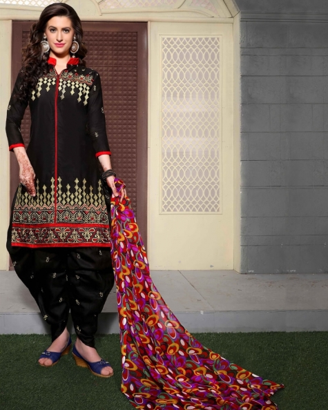 Amazing Black Cotton Salwar Suit