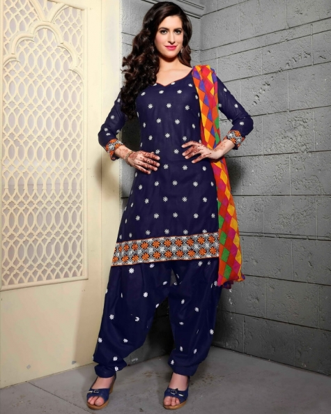 Splendid Blue Cotton Salwar Suit