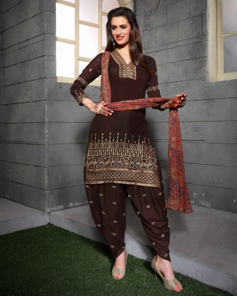 Magical Brown Cotton Salwar Suit
