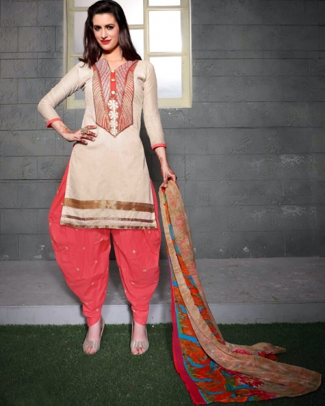 Delicate Off White Cotton Salwar Suit