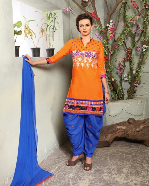 Charming Orange Cotton Designer Salwar Suit