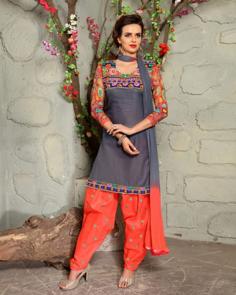 Exotic Grey Cotton Designer Salwar Suit