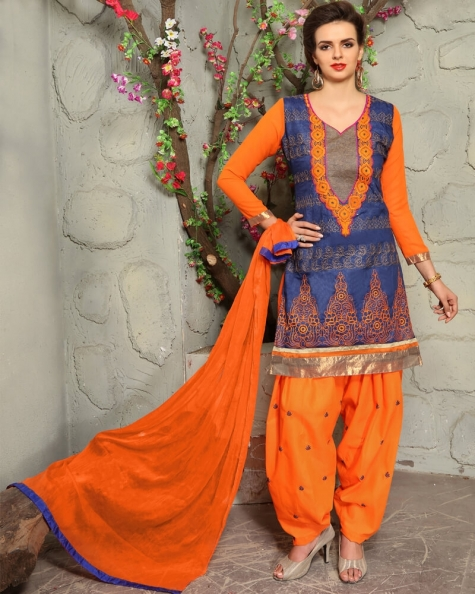 Appealing Blue Cotton Designer Salwar Suit