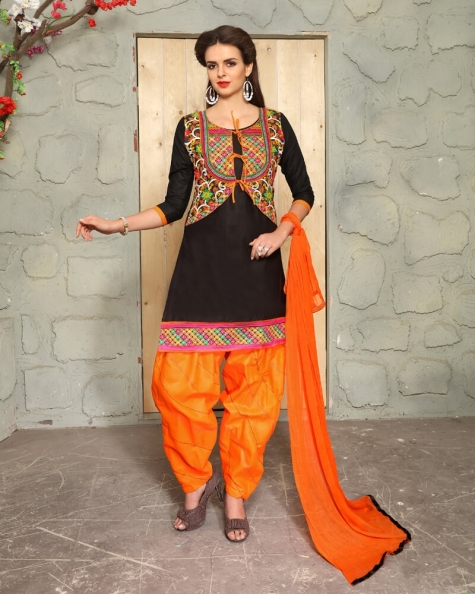 Shimmering Black Cotton Designer Salwar Suit