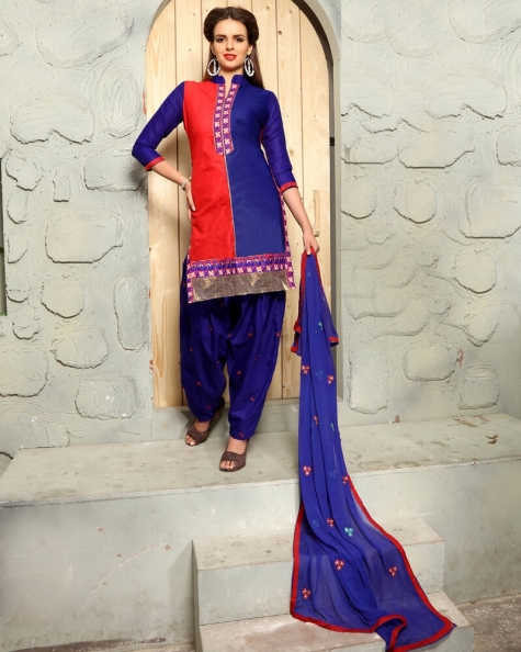 Stunning Purple Orange Cotton Designer Salwar Suit