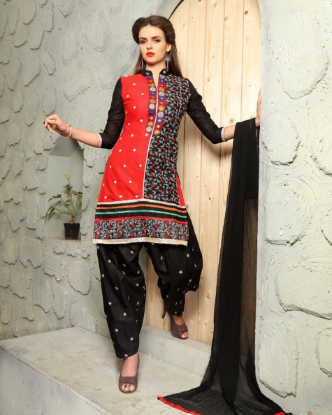 Elegant Black Red Cotton Designer Salwar Suit
