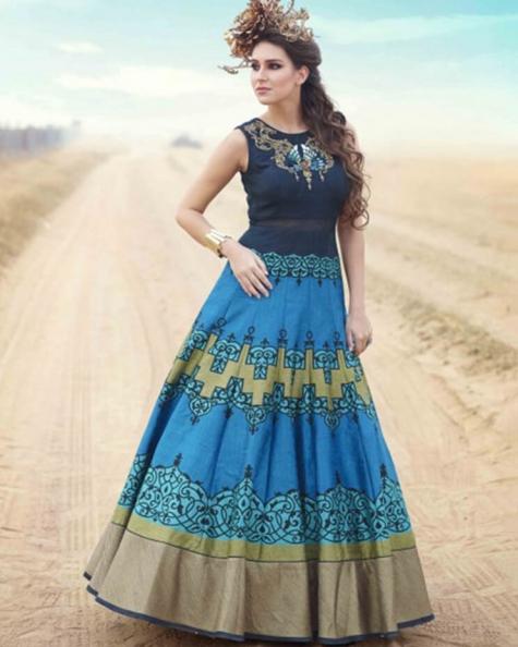 Designer Partywear Blue Green Pure Bhagalpuri Handworked Gown