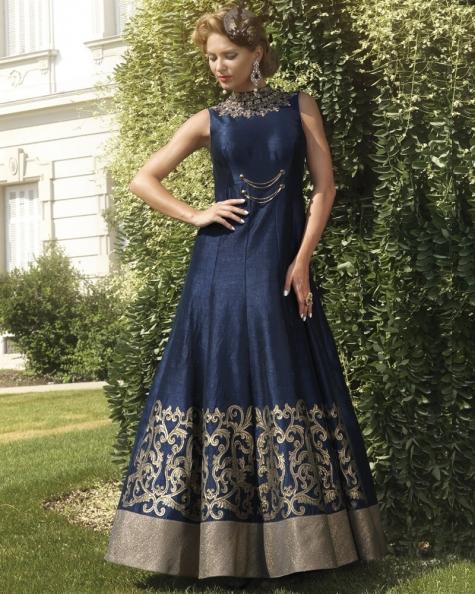 Designer Partywear Blue Pure Bhagalpuri Handworked Gown