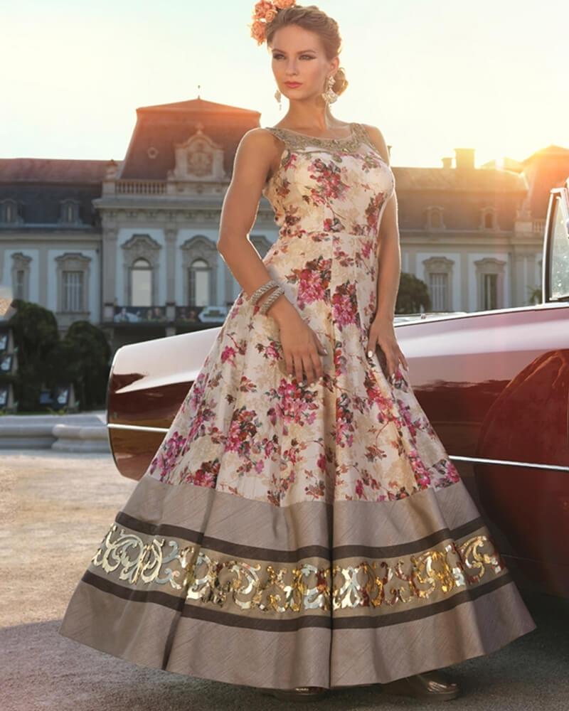 Designer Partywear Ceam Pure Bhagalpuri Satin Handworked Gown