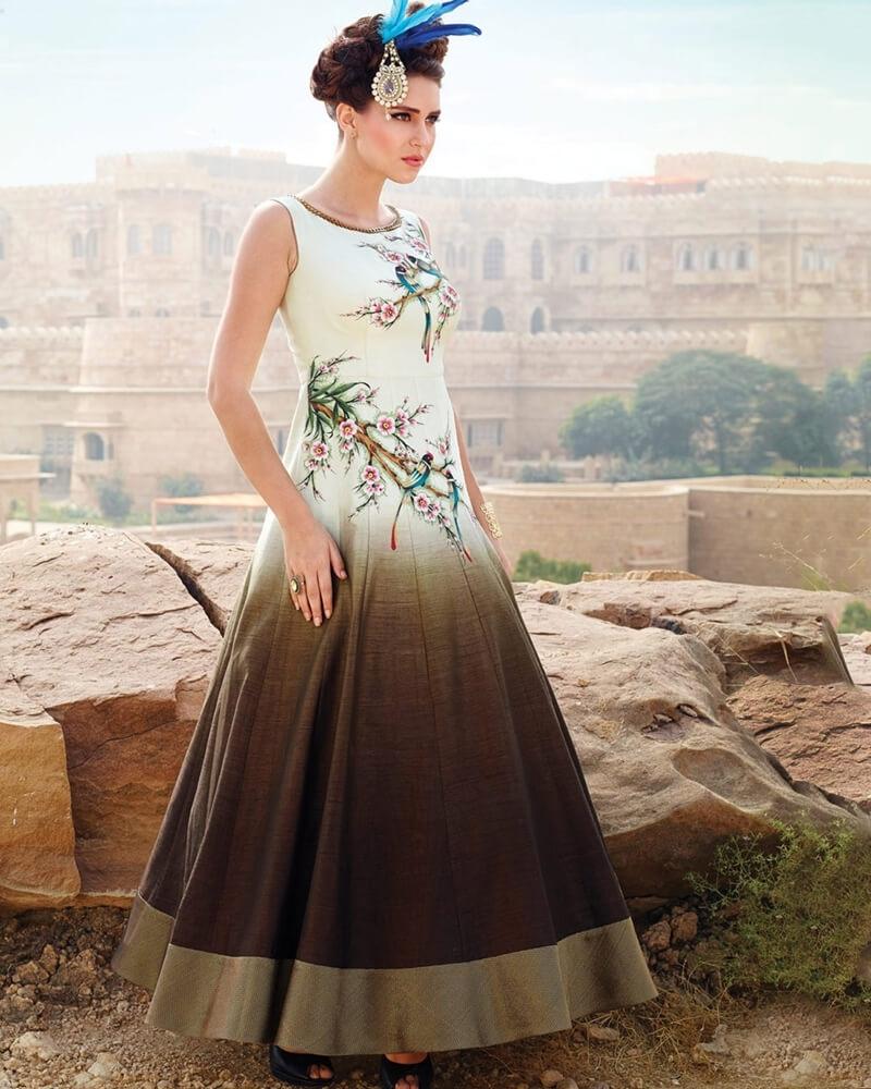 Designer Partywear Ceam Banglori Silk Handworked Gown