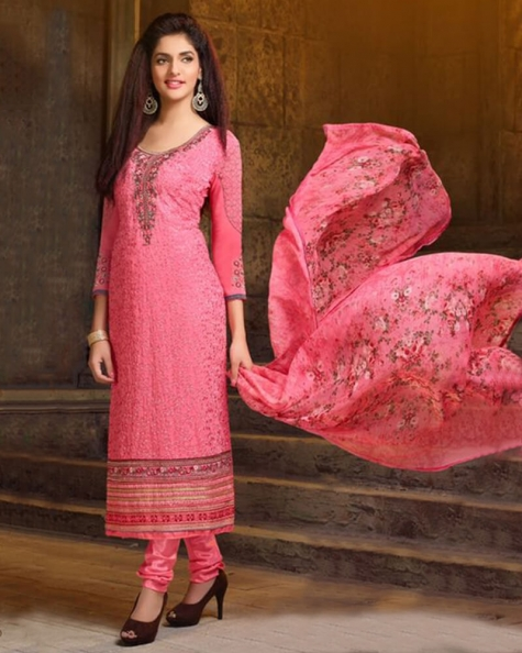 Captivating Peach Georgette Salwar Suit