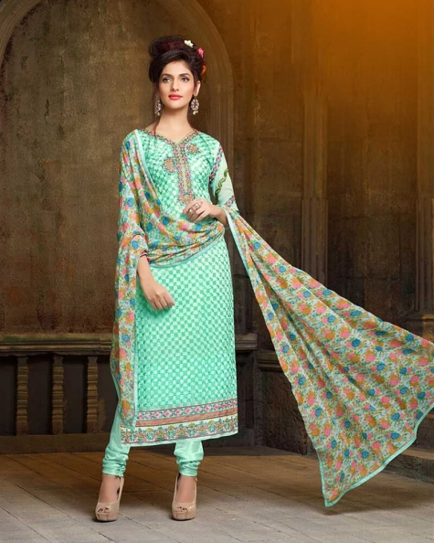 Gorgeous Light Green Georgette Salwar Suit