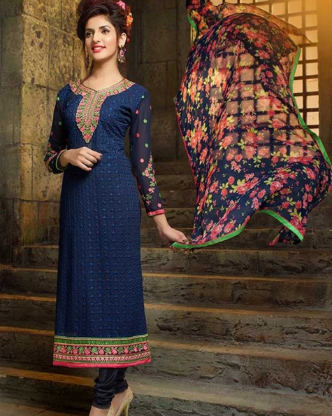 Graceful Navy Blue Georgette Salwar Suit
