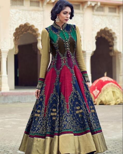 Multicolor Banglori And Bhagalpuri Handworked Suit