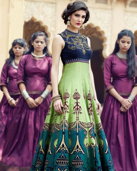 Vibrant Banglori And Bhagalpuri Handworked Suit