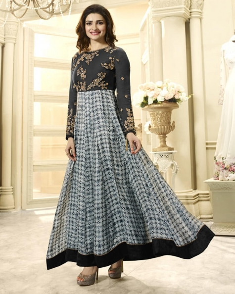 Mystifying Grey Georgette Salwar Kameez