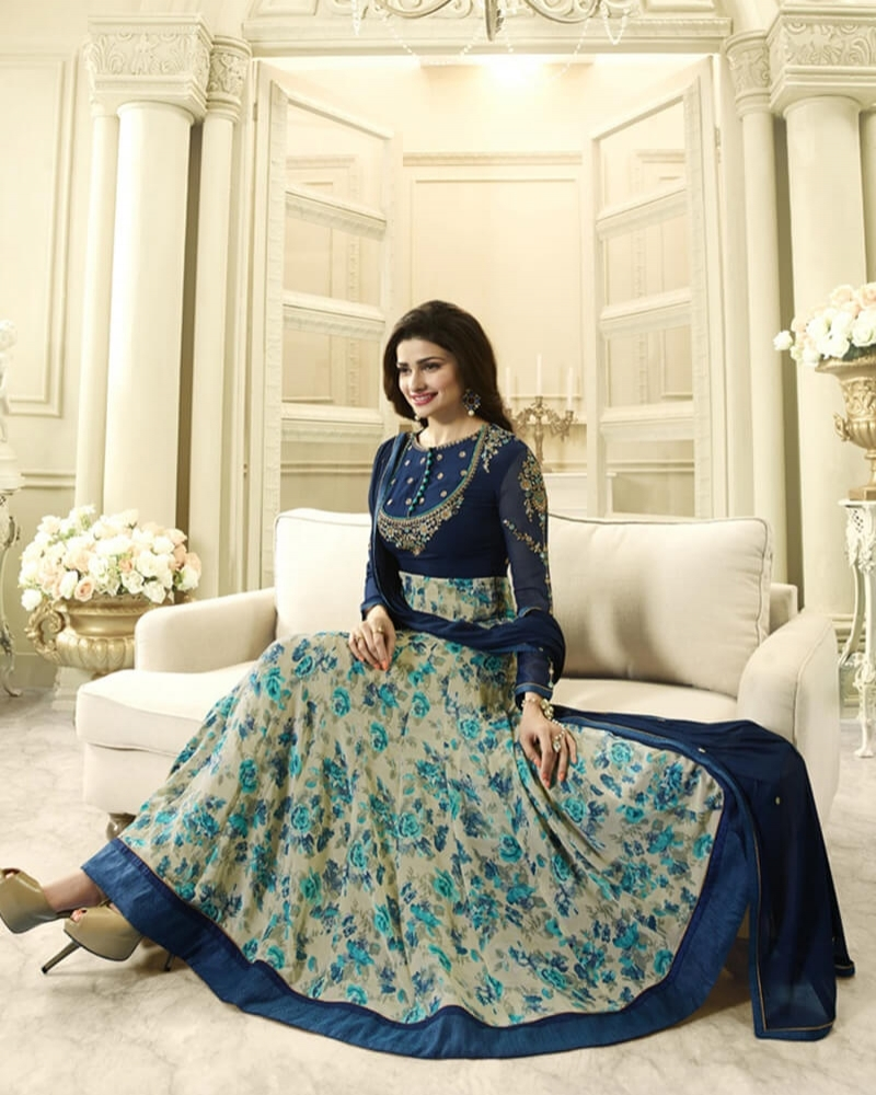 Stylish Blue Beige  Georgette Salwar Kameez