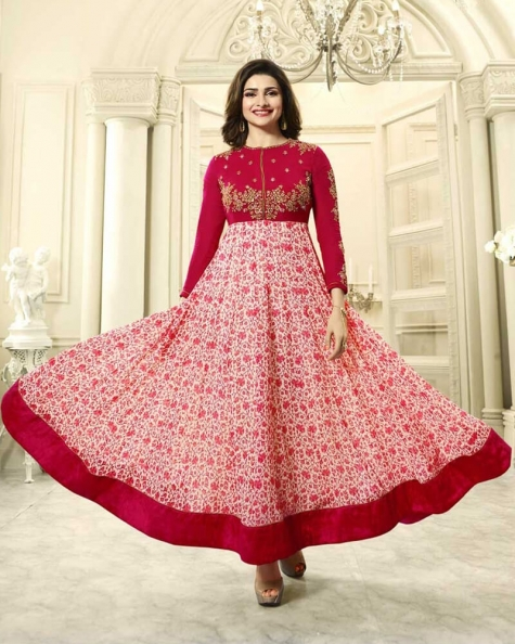 Rusty Red Georgette Salwar Kameez