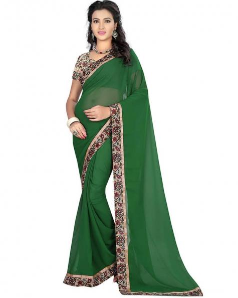 Graceful Green Georgette Printed Saree