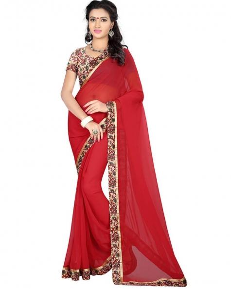 Enigmatic Red Georgette Printed Saree