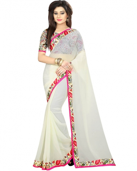Stylish White Georgette Printed Saree