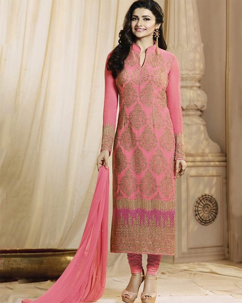 Embroidered Pink Designer Wedding Salwar Suit