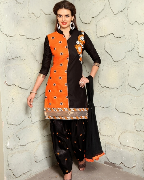 Appealing  Black Orange Cotton Designer Salwar Suit
