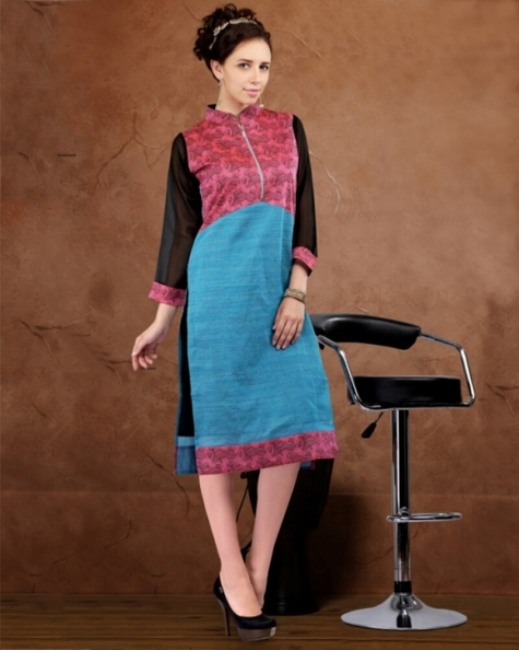 Captivating Partywear Skyblue and pink Cotton Fancy Kurti