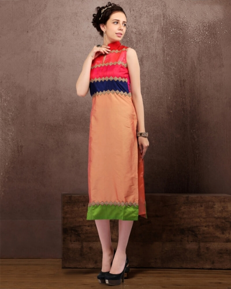 Lovely Multicolor Cotton Fancy Kurti