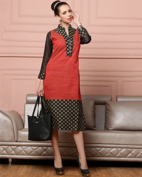 Charming Red and Black Cotton Fancy Kurti