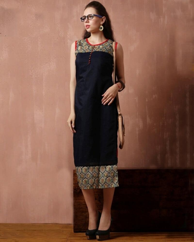 Stunning Partywear Dark Blue Cotton Fancy Kurti