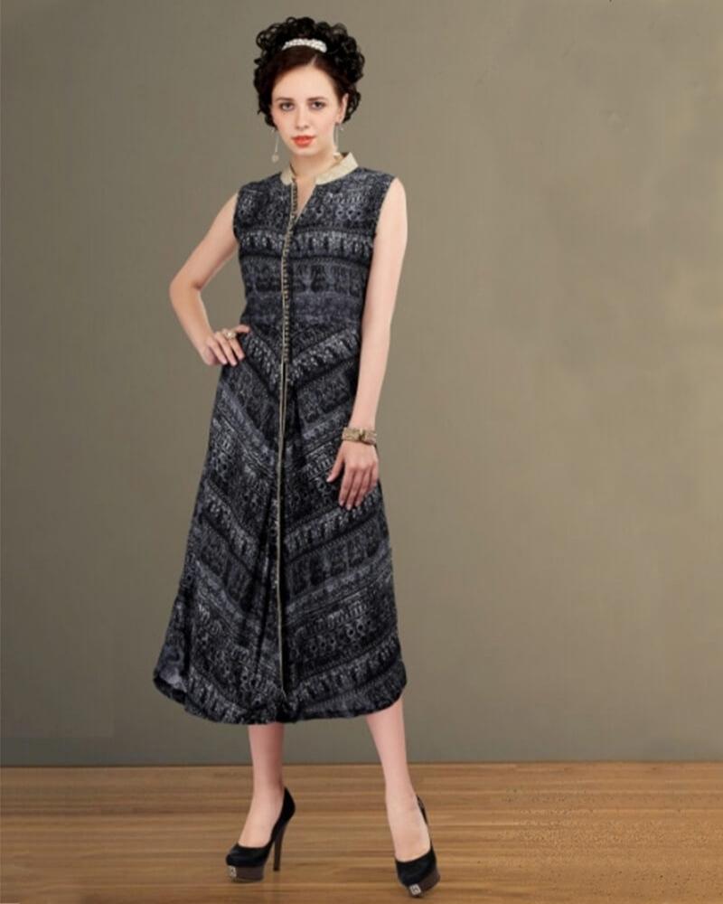 Scintillating Partywear Dark grey Cotton Fancy Kurti