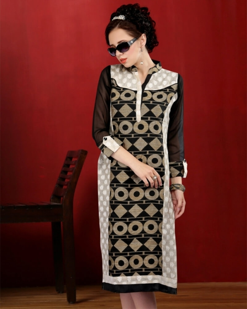 Alluring Cream and black Cotton Fancy Kurti