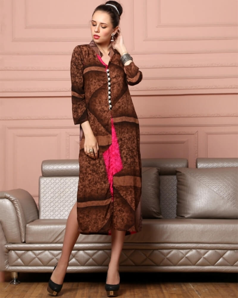 Appealing Brown Cotton Fancy Kurti