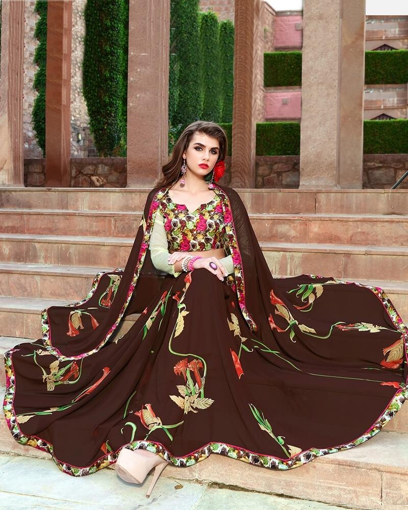 Beautiful Designer Brown Weight Less Digital Printed Fancy Saree