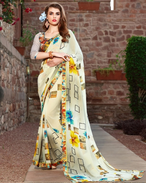 Charismatic Designer Cream Weight Less Digital Printed Fancy Saree