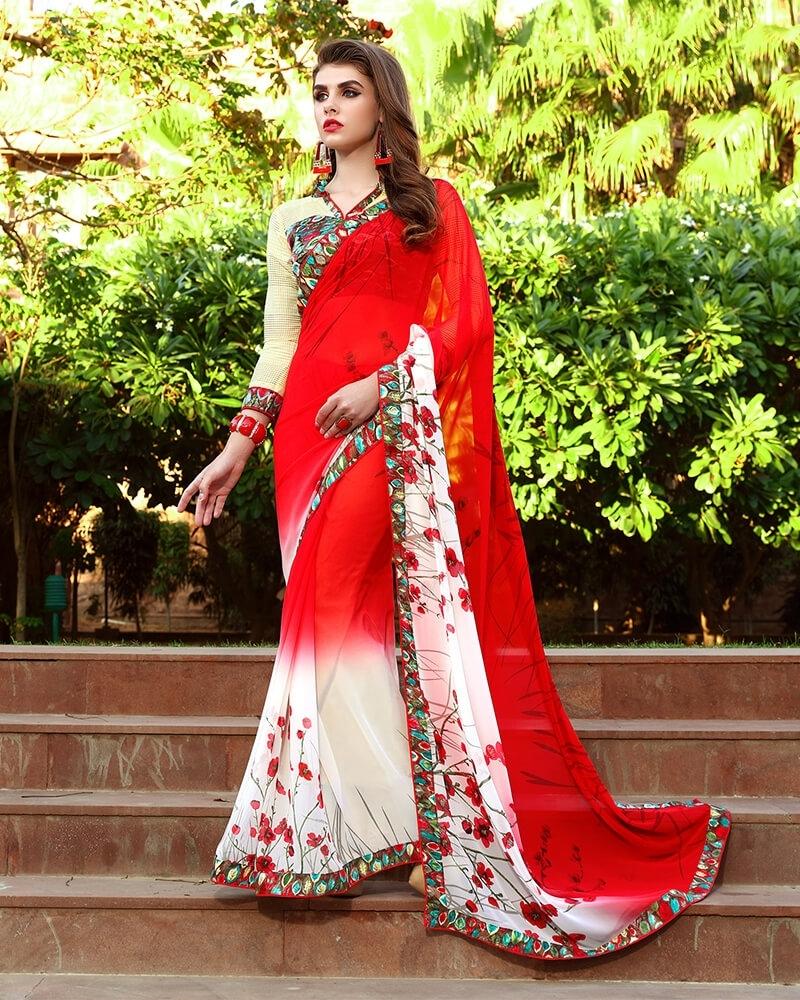 Captivating Designer Red Weight Less Digital Printed Fancy Saree