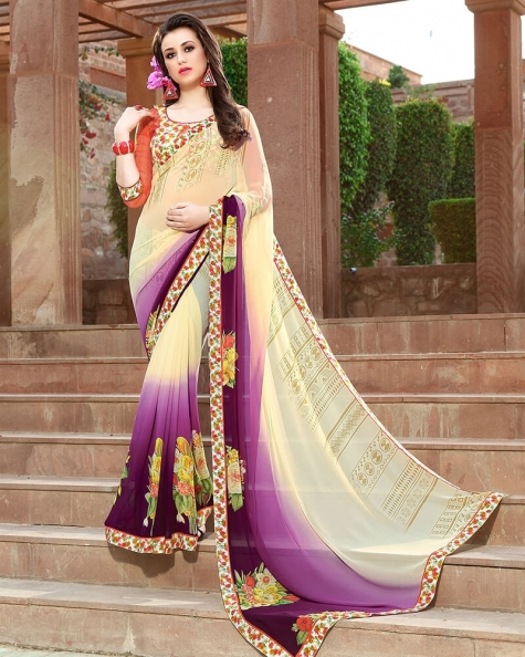 Attractive Designer Cream Weight Less Digital Printed Fancy Saree