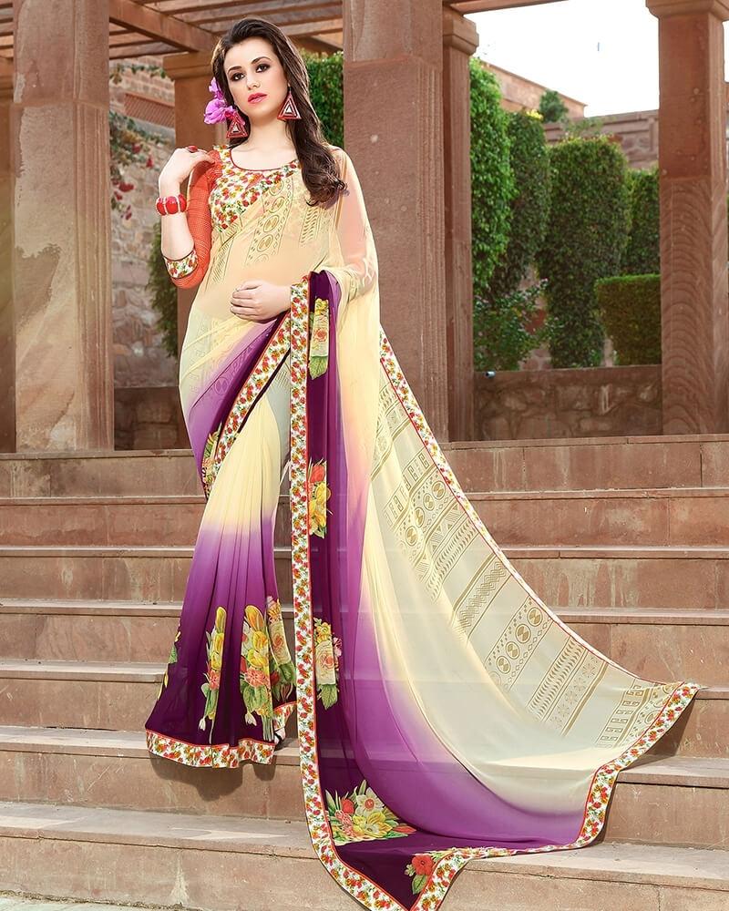 Attractive Designer Cream Weight Less Digital Printed Fancy Saree