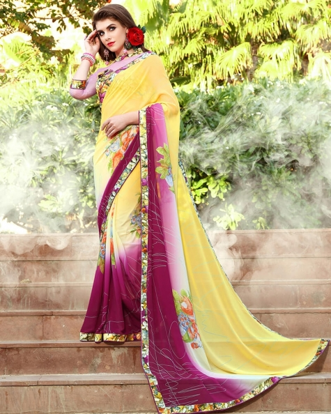 Glamorous Designer Yellow Weight Less Digital Printed Fancy Saree